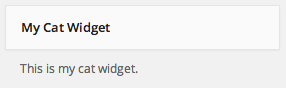 My Cat Widget in the WP admin