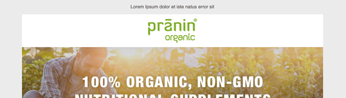 Pranin Organic Email Newsletter
